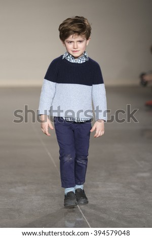 New York, NY USA - March 12, 2016: Young model walks runway for Baby CZ by Carolina Zapf during petiteParade fashion show at Spring studios - stock photo