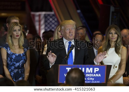 New York, NY USA - May 3, 2016: Donald Trump delivers victory speech after winning Indiana primary of Republican party for presidential nominee at Trump Tower