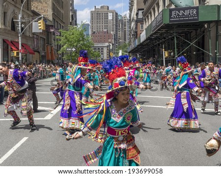 New York, NY, USA - May 17, 2014: Members of Bolivian Fraternidad Tinkus San Simon VA dance group perform at The 8th Annual New York City Dance Parade and Festival