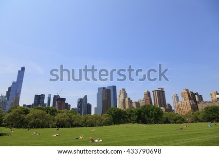 New York, NY, USA - May 25, 2016: Sheep Meadow: Sheep Meadow is a 15-acre (61,000 m2) preserve located at the west side of Central Park from 66th to 69th Streets in Manhattan, New York City.