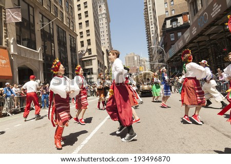 New York, NY USA - May 17, 2014: Ukrainian Dance Academy and Ensemble Iskra performs on 8th annual dance parade on Broadway