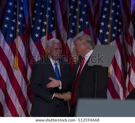 New York, NY USA - November 8, 2916: Donald Trump elected 45th President of USA and Mike Pence on stage during victory party at Hilton hotel New York