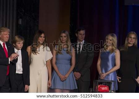New York, NY USA - November 9, 2016: Donald Trump elected 45th President of USA greets his family during victory party at Hilton hotel New York