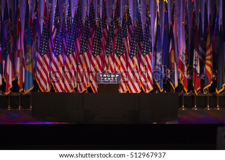 New York, NY USA - November 8, 2916: Donald Trump elected 45th President of USA stage prepared for victory party at Hilton hotel New York