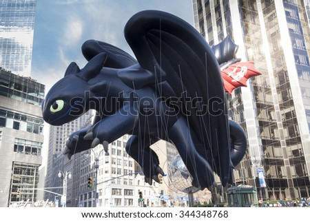 New York, NY USA - November 26, 2015: Giant How to Train Your Dragons Toothless balloon flown at the 89th Annual Macy's Thanksgiving Day Parade on Columbus Circle