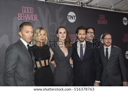New York, NY, USA - November 14, 2016: (L-R) Chad Hodge, Lusia Strus, Michelle Dockery, Juan Diego Botto, Terry Kinney, Blake Crouch attend TNT's Good Behavior Premiere Event at The Roxy Hotel