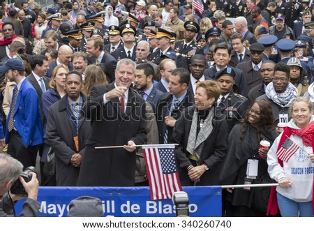 New York, NY USA - November 11, 2015: New York mayor Bill de Blasio attends Veteran's Day parade on Fifth Avenue