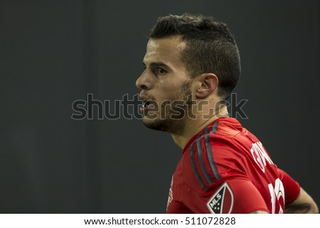 New York, NY USA - November 6, 2016: Sebastian Giovinco (10) of Toronto FC prepares kick corner during MLS Cup Eastern Conference semifinal against NYC FC at Yankee stadium Toronto won 5 - 0