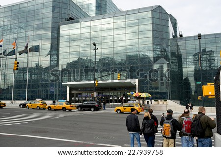 New York, NY USA - Oct.30th,2014  View of people going into the Javits Convention Center during the PDN 2014 conference. - stock photo