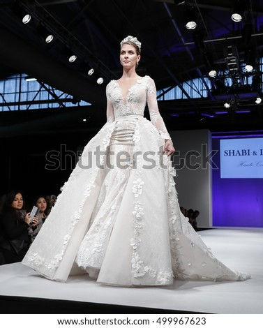 New York, NY, USA - October 9, 2016: A model walks runway for Bridal Couture from Israel Spring 2017 Bridal Collection during NYIBW at Fashion Theater, Pier 94. Design by Shabi Shamila and Israel Mor