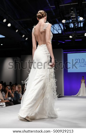 New York, NY, USA - October 9, 2016: A model walks runway for Bridal Couture from Israel Spring 2017 Bridal Collection during NYIBW at the Fashion Theater, Pier 94, Manhattan. Design by Solo Merav