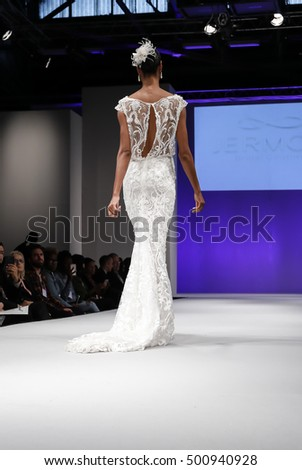New York, NY, USA - October 9, 2016: A model walks runway for Bridal Couture from Israel Spring 2017 Bridal Collection during NYIBW at the Fashion Theater, Pier 94, Manhattan. Design by Yair Jermon