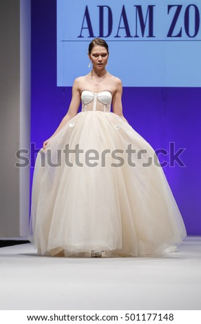 New York, NY, USA - October 9, 2016: A model walks runway for Bridal Couture from Israel Spring 2017 Bridal Collection during NYIBW at the Fashion Theater, Pier 94, Manhattan. Design by Adam Zohar