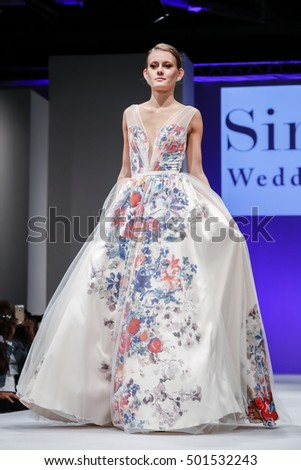 New York, NY, USA - October 9, 2016: A model walks runway for Bridal Couture from Israel Spring 2017 Bridal Collection during NYIBW at Fashion Theater, Pier 94, Manhattan. Design by Simijan Bozaglo