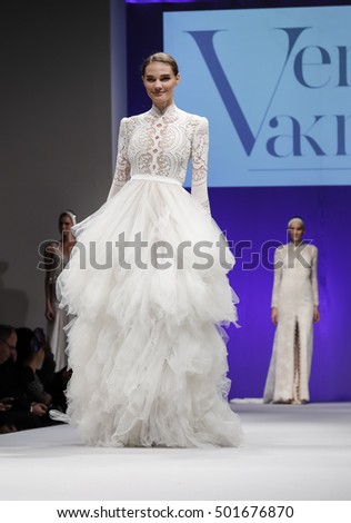 New York, NY, USA - October 9, 2016: A model walks runway for Bridal Couture from Israel Spring 2017 Bridal Collection during NYIBW at the Fashion Theater, Pier 94, Manhattan. Design by Vered Vaknin
