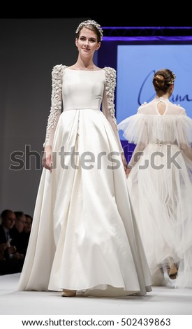 New York, NY, USA - October 9, 2016: A model walks runway for Bridal Couture from Israel Spring 2017 Bridal Collection during NYIBW at the Fashion Theater, Pier 94, Manhattan. Design by Chana Marelus