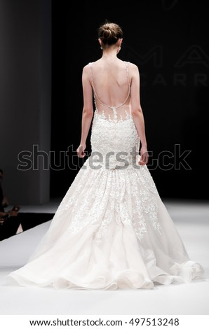 New York, NY, USA - October 8, 2016: A model walks runway for Eve of Milady / Amalia Carrara Spring  2017 Bridal Collection during New York International Bridal Week at the Fashion Theater, Pier 94