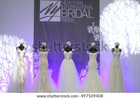 New York, NY, USA - October 8, 2016: A view of logo of New York International Bridal Week with the samples of bridal dress at the Pier 94, Manhattan