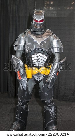 New York, NY, USA - October 11 2014: Comic Con attendee poses in the costume during Comic Con 2014 at The Jacob K. Javits Convention Center in New York City
