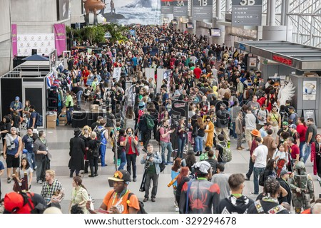 New York, NY, USA - October 9, 2015: General atmosphere on convention floor during Comic Con 2015 at The Jacob K. Javits Convention Center in New York City.  - stock photo