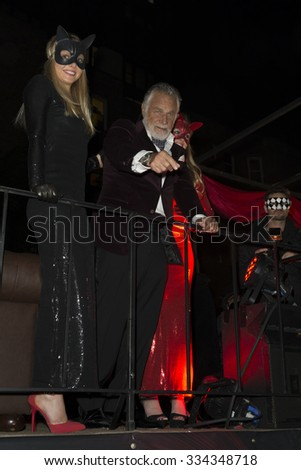 New York, NY USA - October 31, 2015: Jonathan Goldsmith The Most Interesting Man in the World grand marshal of 42nd Annual Halloween parade on theme Shine a Light in Greenwich Village