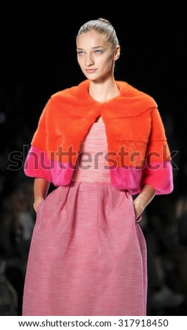 New York, NY, USA - September 12, 2015: A model walks runway at Monique Lhullier runway show during of Spring 2016 New York Fashion Week at The Arc, Skylight at Moynihan Station,  #CFDANYFW, #NYFW, - stock photo