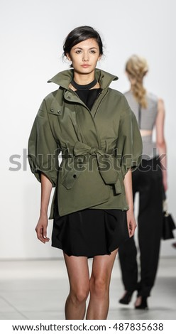New York, NY, USA - September 8, 2016: A model walks runway for the Marissa Webb Spring/Summer 2017 runway show during New York Fashion Week SS 2017 at The Gallery at Skylight Clarcson Sq