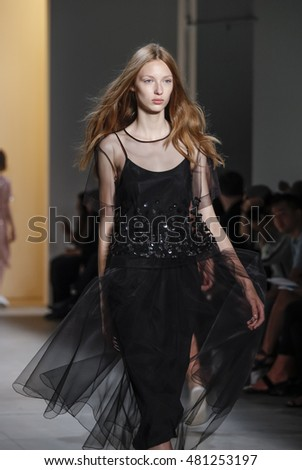 New York, NY, USA - September 8, 2016: A model walks runway for the NOON BY NOOR Spring/Summer 2017 runway show during New York Fashion Week SS 2017 at The Gallery at Skylight Clarcson Sq