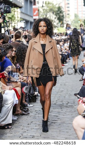 New York, NY, USA - September 10, 2016: A model walks runway for the Rebecca Minkoff Fall/Winter 2016 runway show during New York Fashion Week SS 2017 at the Greene Street, Manhattan