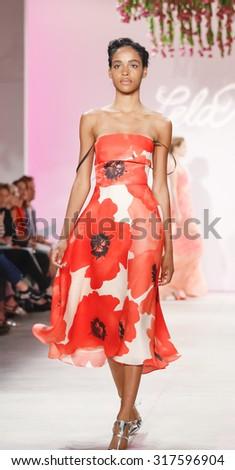 New York, NY, USA - September 14, 2015: A model walks the runway at Lela Rose runway show during of Spring 2016 New York Fashion Week at The Gallery, Skylight Clarkson Sq., #NYFW, #lelarose - stock photo