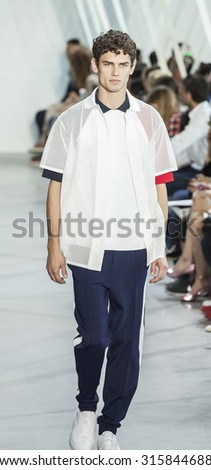 New York, NY, USA - September 12, 2015: A model walks the runway for Lacoste fasion show during of Spring 2016 New York Fashion Week at Spring Studios, Manhattan. #CFDANYFW, #NYFW, #LACOSTE