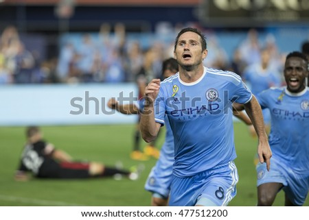 New York, NY USA - September 1, 2016: Frank Lampard (8) of NYC FC celebrates scoring first goal during MLS game against DC United at Yankees stadium