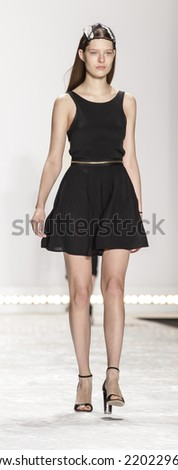 New York, NY, USA - September 05, 2014: Model walks rehearsal for Monique Lhuillier Spring 2015 Runway show during Mercedes-Benz Fashion Week New York at the Theatre at Lincoln Center, Manhattan - stock photo