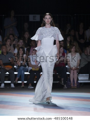 New York, NY USA - September 10, 2016: Model walks runway for Christian Siriano collection during New York Fashion week Spring/Summer 2017 at Art Beam