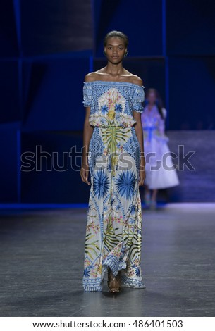 New York, NY USA - September 14, 2016: Model walks runway for collection by Naeem Khan during New York Fashion week Spring/Summer 2017 at Moynihan Station