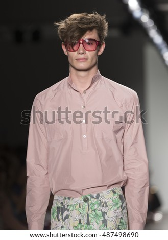 New York, NY USA - September 11, 2016: Model walks runway for Custo Barcelona collection By Custo Dalmau during New York Fashion week Spring/Summer 2017 at Pier 59