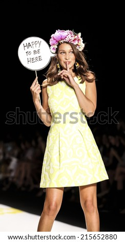 New York, NY, USA - September 04, 2014: Model walks runway for Desigual Spring 2015 Runway show during Mercedes-Benz Fashion Week New York at the Theatre at Lincoln Center, Manhattan - stock photo