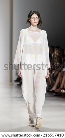 New York, NY, USA - September 06, 2014: Model walks runway for Mara Hoffman Spring 2015 Runway show during Mercedes-Benz Fashion Week New York at the Salon at Lincoln Center, Manhattan - stock photo