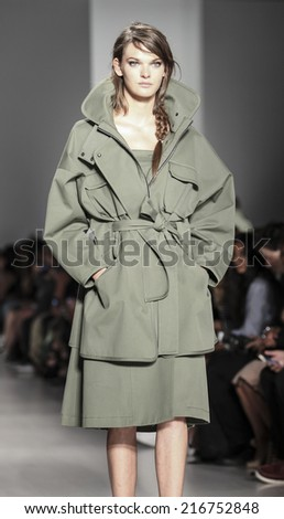 New York, NY, USA - September 04, 2014: Model walks runway for Marissa Webb Spring 2015 Runway show during Mercedes-Benz Fashion Week New York at the Salon at Lincoln Center, Manhattan
