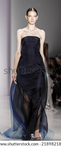 New York, NY, USA - September 09, 2014: Model walks runway for Pamella Roland Spring 2015 Runway show during Mercedes-Benz Fashion Week New York at the Salon at Lincoln Center, Manhattan