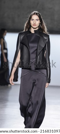 New York, NY, USA - September 05, 2014: Model walks runway for Sally LaPointe Spring 2015 Collection  Runway show during Mercedes-Benz Fashion Week New York at Skylight Modern, Manhattan