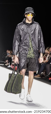 New York, NY, USA - September 08, 2014: Model walks runway wearing Control Sector at  Art Hearts fashion show presented by AIDS Healthcare Foundation during NBFW SS 2015 at Theatre at Lincoln Center
