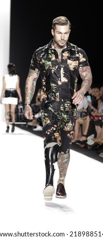 New York, NY, USA - September 08, 2014: Model walks the runway for Mister Triple X at Art Hearts Fashion show presented by AIDS Healthcare Foundation during MBFW SS2015 at Theatre at Lincoln Center