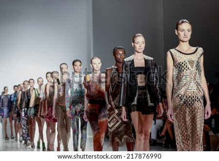 New York, NY, USA - September 07, 2014: Models walk runway for Custo Barcelona Spring 2015 Runway show during Mercedes-Benz Fashion Week New York at the Salon at Lincoln Center, Manhattan - stock photo
