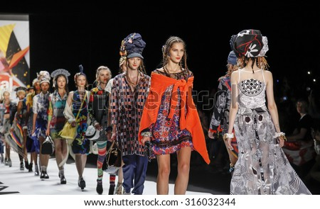 New York, NY, USA - September 10, 2015: Models walk the runway at Desigual runway show during of Spring 2016 New York Fashion Week at The Arc, Skylight at Moynihan Station. #CFDANYFW, #NYFW, #DESIGUAL - stock photo