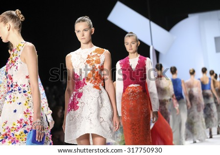 New York, NY, USA - September 12, 2015: Models walk the runway at Monique Lhullier runway show during of Spring 2016 New York Fashion Week at The Arc, Skylight at Moynihan Station,  #CFDANYFW, #NYFW, - stock photo