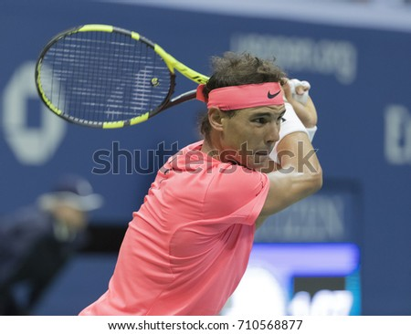 New York, NY USA - September 6, 2017: Rafael Nadal of Spain returns ball during match against Andrey Rublev of Russia at US Open Championships at Billie Jean King National Tennis Center