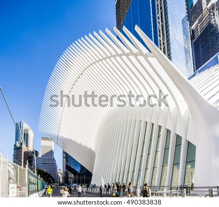 New York, NY, USA - SEPTEMBER 9, 2016:  World Trade Center Transportation Hub: World Trade Center Transportation Hub is the a large transit station for PATH rail service and retail complex.