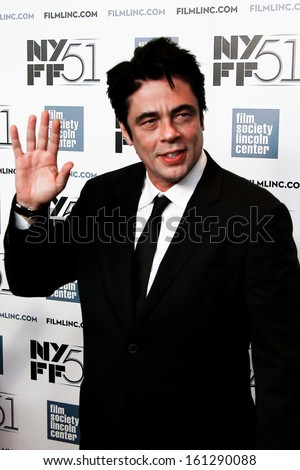 NEW YORK-OCT 1: Actor Benicio del Toro attends the 'Jimmy P: Psychotherapy Of A Plains Indian' premiere during the 51st New York Film Festival at Alice Tully Hall on October 1, 2013 in New York City. - stock photo