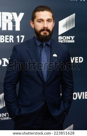 "NEW YORK-OCT 15: Actor Shia LaBeouf attends the world premiere of ""The Fury"" at the Newseum on October 15, 2014 in Washington DC. - stock photo"